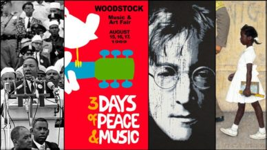 "1960s cultural influences: Martin Luther King's ""I Have a Dream"" speech, Woodstock, John Lennon's ""Immagine,"" and Normal Rockwell's ""The Problem We All Live With."""