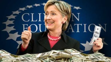 Hillary Clinton with pile of cash at the Clinton Foundation