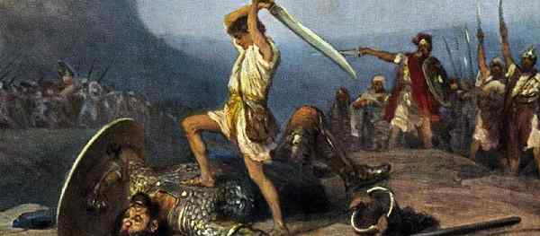 David slays Goliath.