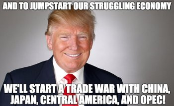 Donald Trump: And to jumpstart our struggling economy we'll start a trade war with China, Japan, Central America, and OPEC!
