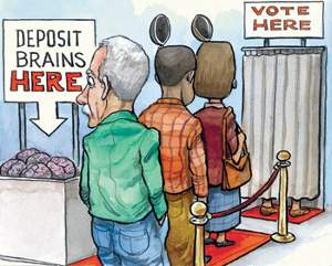 Voters entering polling booth depositing their brains in a box before entering.