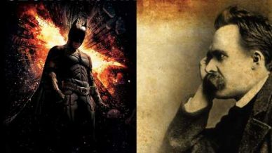 Batman and Nietzsche facing each other.